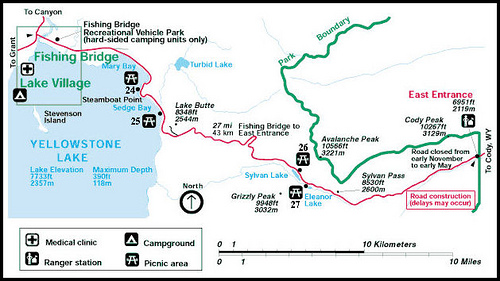 Lake Village Yellowstone to Yellowstone East Entrance Map ...