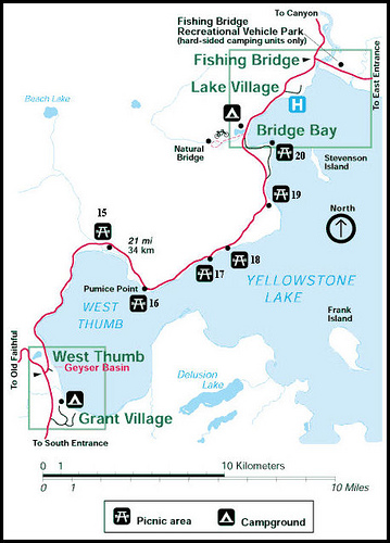 West Thumb/Grand Village Yellowstone to Lake Village Yellowstone Map ...